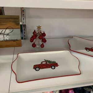 NWT Ceramic Red Truck Serving Dish